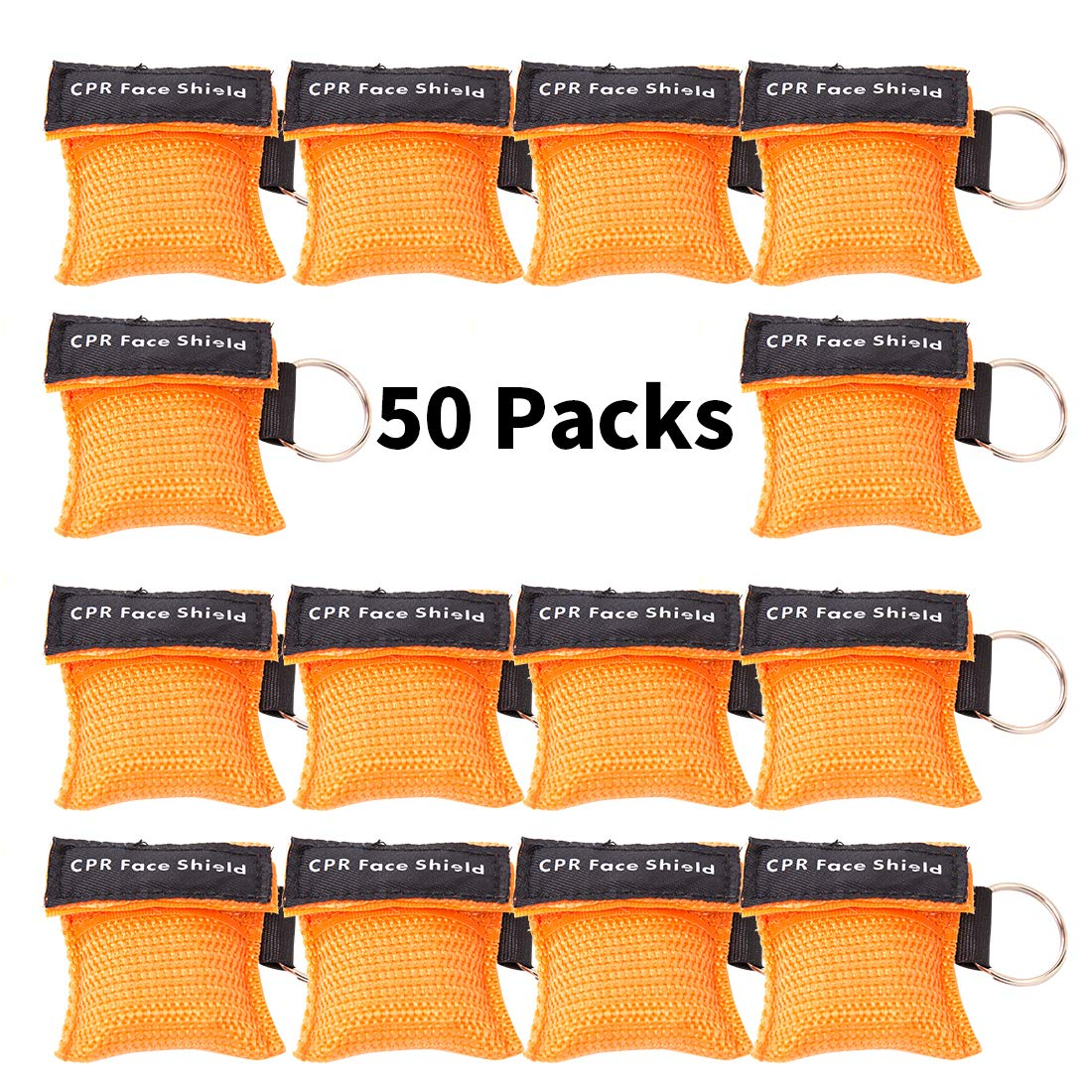 KONGDY 50PCS CPR Face Shield Keychain Mask Rescue Mask CPR Disposable Emergency CPR Pocket Mask with One-Way Valve Breathing Barrier for First Aid by KONGDY