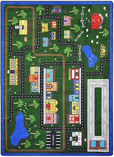 Joy Carpets Kid Essentials Active Play Juvenile Tiny Town Rug, Multicolored, 5 4 x 7 8
