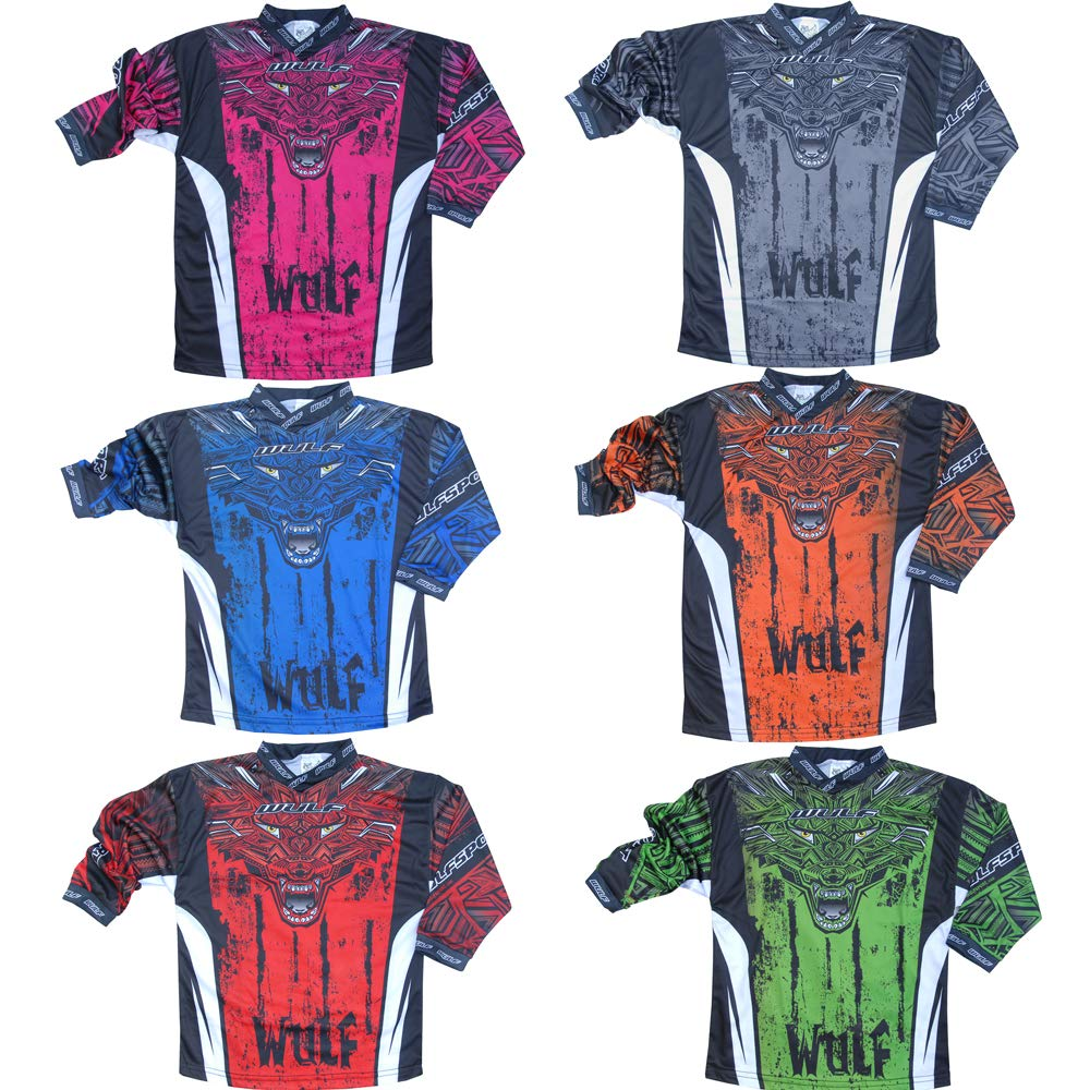 Wulf Kids 2019 Aztec Motocross Motorbike Shirt Bike Clothing Blue 11-13 Yrs