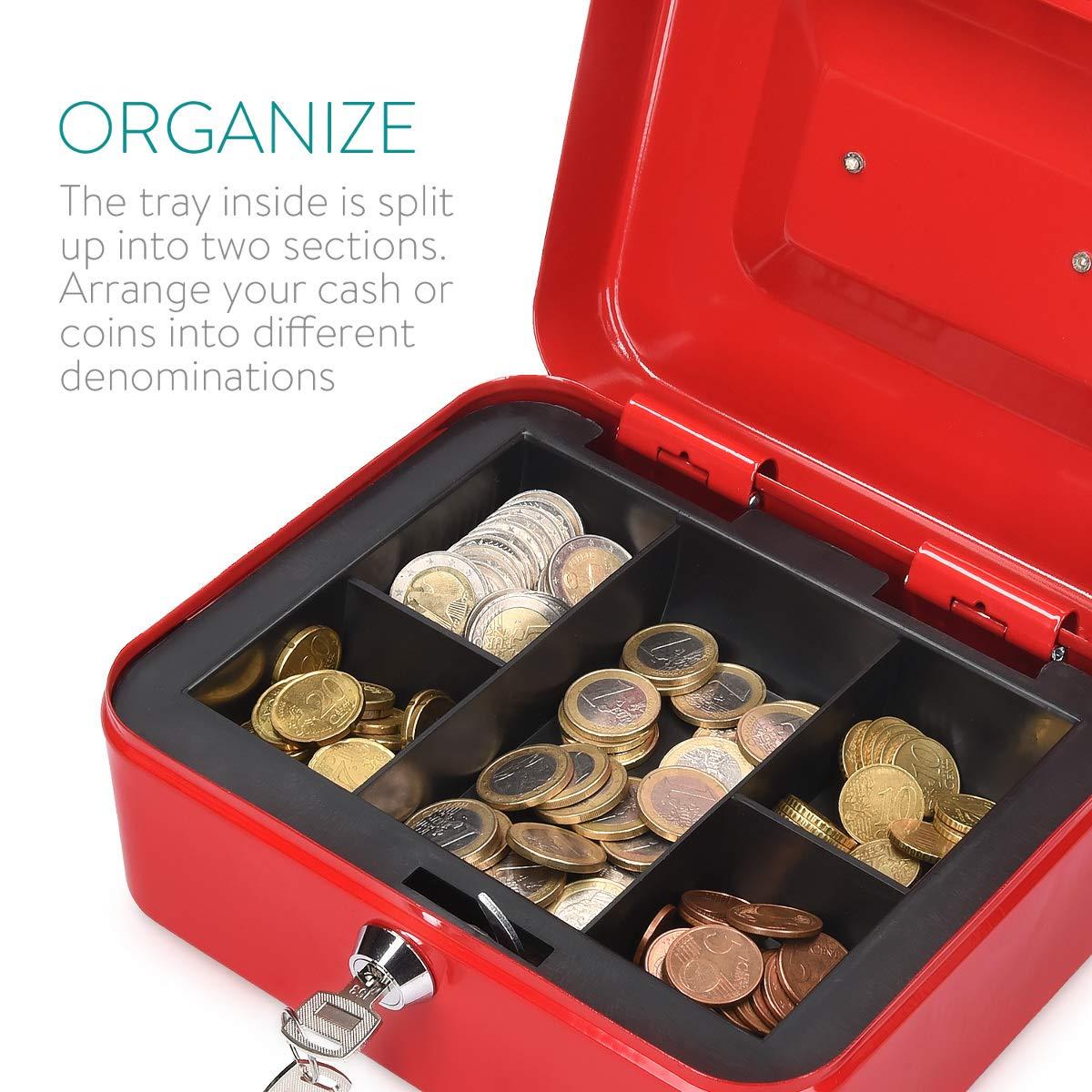 Organizador de efectivo con cerradura y compartimento interior Navaris Caja fuerte para dinero Para billetes monedas documentos con dos llaves