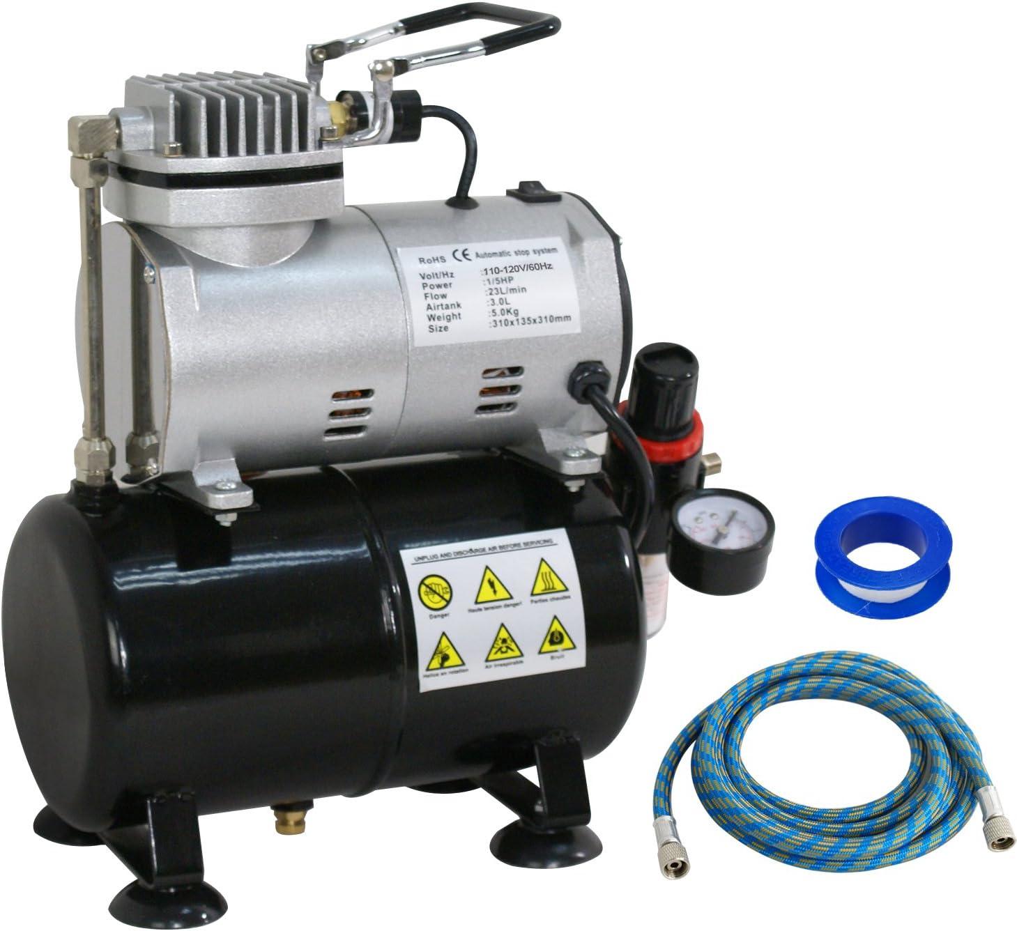ZENY Airbrush Air Tank Compressor Regulator Filter Hose 3L Tank TC-20T