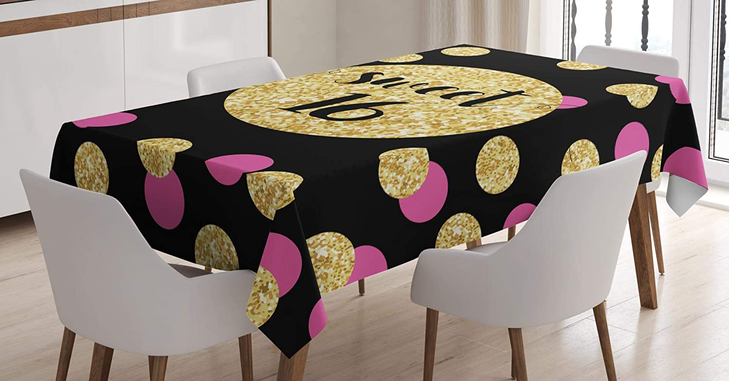 Multicolor Dining Room Kitchen Rectangular Table Cover Lunarable Sweet 16 Tablecloth 60 W X 90 L Inches Candy Pink and Vibrant Yellow Color Ornamental Circles Hand-Written Sweet Sixteen