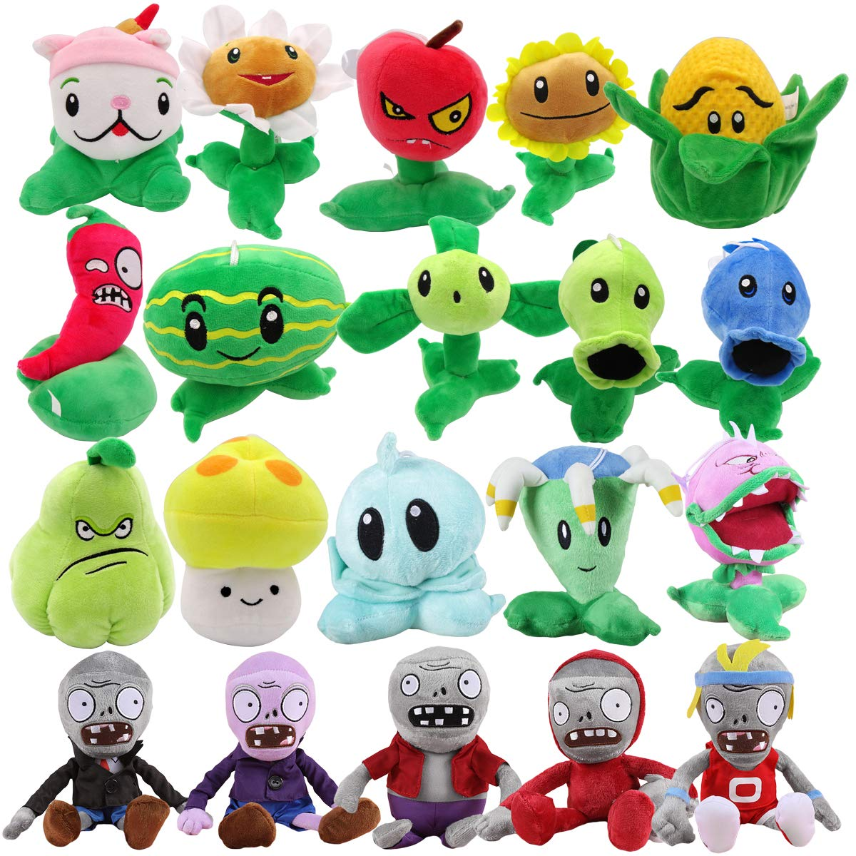 TavasHome Plants vs Zombies Stuffed Plush Toys (Set of 20 ),Games PVZ Soft Toys Doll for Kids Gifts Party Toy Baby Plush Doll by TavasHome