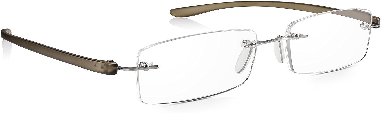 Read Optics Gafas Hombre/Mujer de Lectura Sin Montura: Lentes Graduadas +1.5 Dioptrías para Presbicia con Sistema SecureLoc Patentado – Varillas Resistentes y Flexibles de Policarbonato Gris