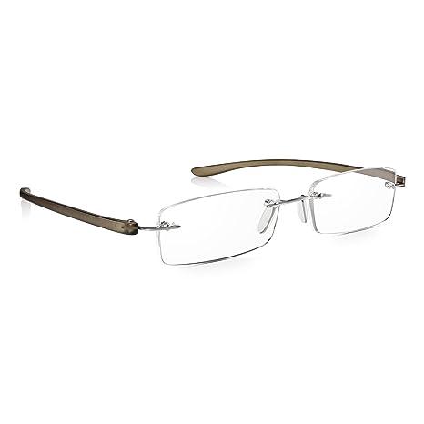 Read Optics Gafas Graduadas +2.00 Dioptrías: de Lectura Sin Montura Hombre/Mujer – Varillas Grises Flexibles y Lentes Anti-UV – con Sistema Patentado ...