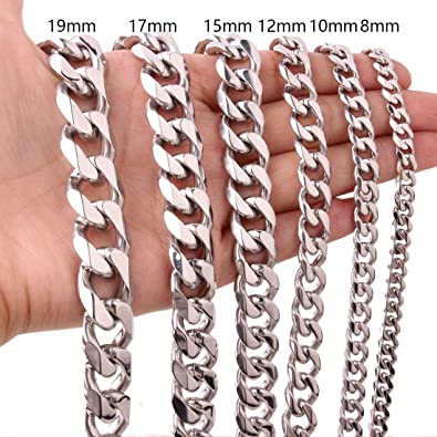 Collar de Acero Inoxidable Anchura 3mm YDong Cadena de joyeria de Hombres y Mujeres Plata Longitud 55cm