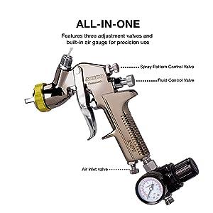 Neiko 31215A HVLP Gravity Feed Air Spray Gun, 1.7 mm Nozzle Size, 600 cc Aluminum Cup, 1.7 mm nozzle (Tamaño: 1.7mm nozzle)