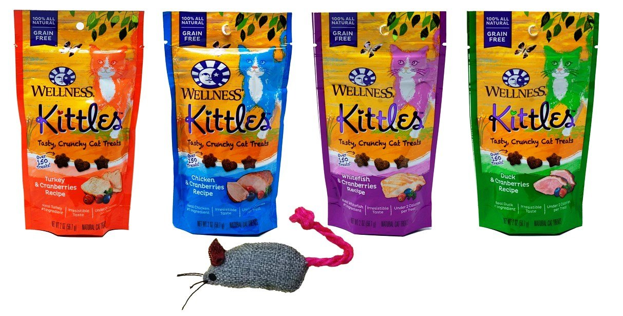 Wellness Kittles Grain Free Cat Treats 4 Flavor with Toy Bundle, (1) Each: Turkey, Whitefish, Duck and Chicken, 2 Ounces