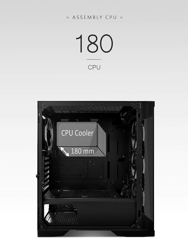 SaharaGaming C500B ATX Black Tempered Glasses Gaming case 4 x12CM Turbo