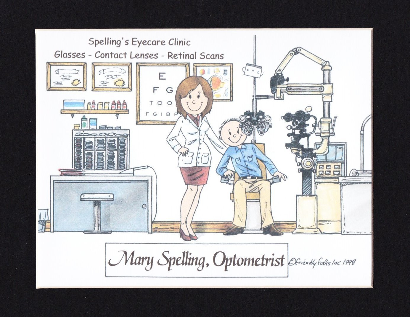 Optometrist Personalized Gift Custom Cartoon Print 8x10, 9x12 Magnet or Keychain