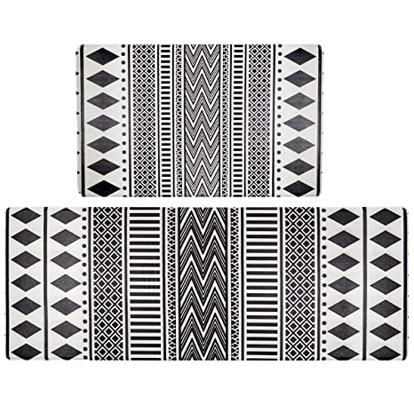 HEBE Anti-Fatigue Kitchen Rugs Set of 2 Pieces Non Slip Waterproof  Cushioned Kitchen Floor Mat and Runner Set Thick Cushion Comfort Standing  Mats ...