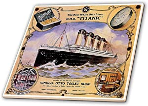 3dRose Vintage White Star Line Titanic Vinolia Otto Toilet Soap Advertising Poster-Ceramic Tile, 12-inch (ct_149245_4), Multicolor