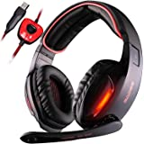 SADES SA902 7.1 Surround Sound Stereo Pro PC USB Gaming Headsets Headband Headphones with Microphone Deep Bass Over-the-Ear Volume Control LED Lights For PC Gamers(Black)
