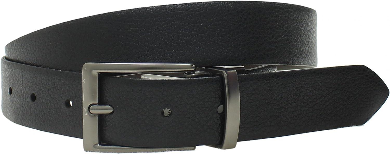 HQ1272 ZUZIFY Mens Bonded Leather Pebbled Reversible Belt