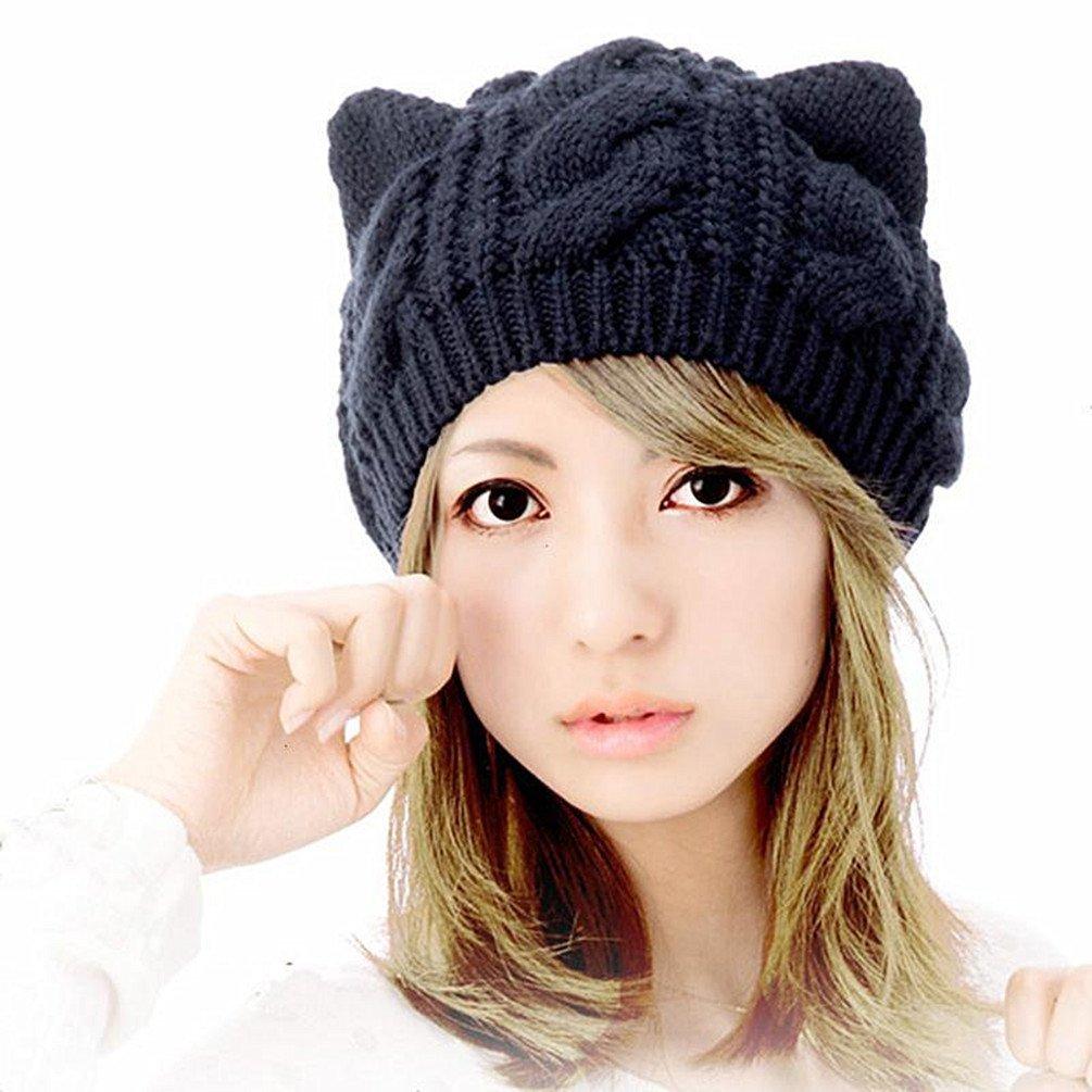 Amberetech Woollike Knitted Cat Kitty Ears Headgear Crochet Hats (Black)