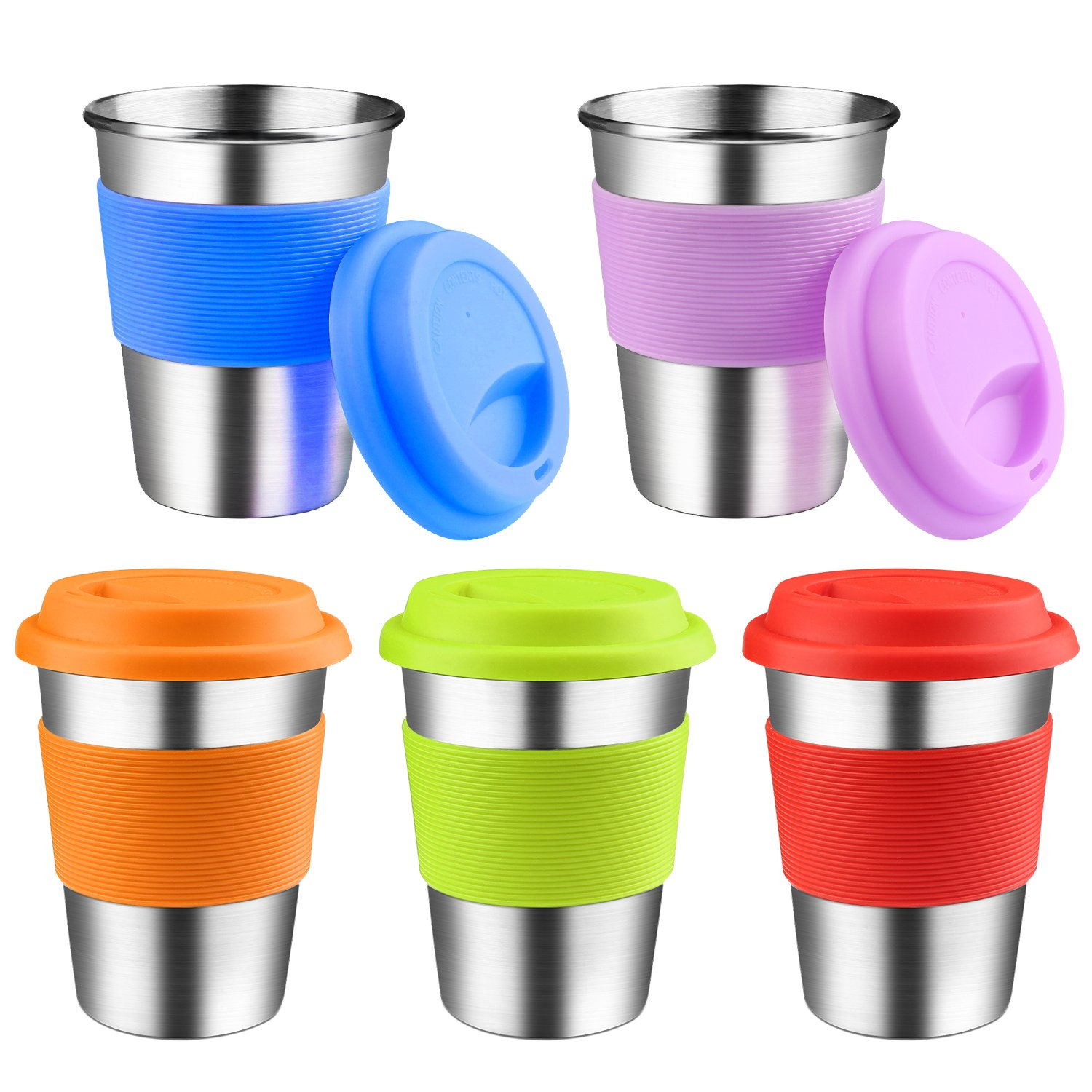 Kids Stainless Steel Cups With Silicone Lids & Sleeves, Kereda 5 Pack 11 3/4 oz. Drinking Tumblers Eco-Friendly BPA-Free for Adults, Children and Toddlers by KEREDA