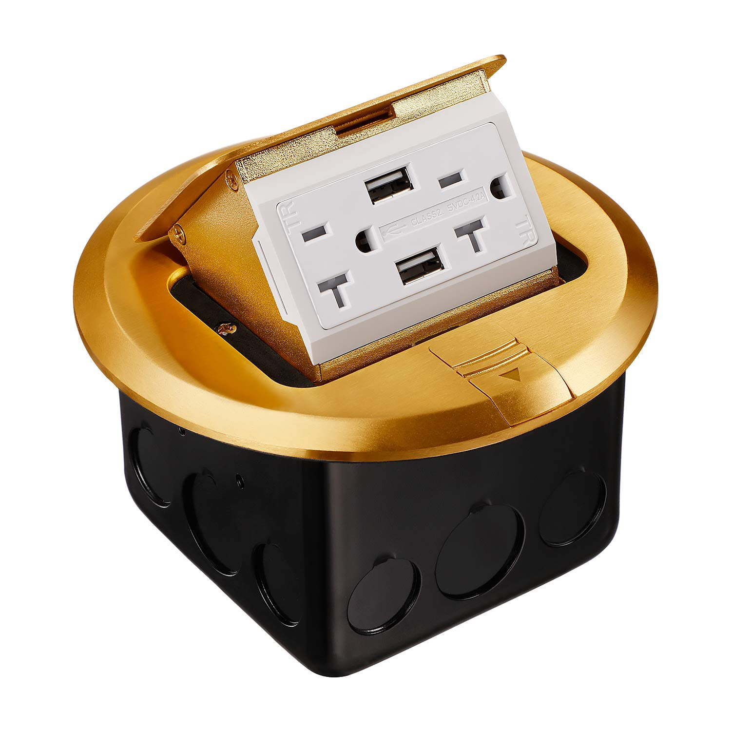 TORCHSTAR Pop-up Floor Outlet Box with Brass Cover, UL Listed Countertop Box with 20A 2AC Receptacles & 2 USB Ports, Electrical Outlet with Junction Box, Damping Spring & Anti Electric Shock Plate