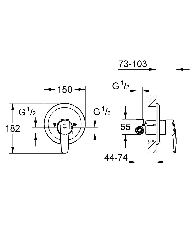 Grohe 32590000 Miscelatore Monocomando Doccia Completo di Corpo Incasso Vecchio Modello Cromo