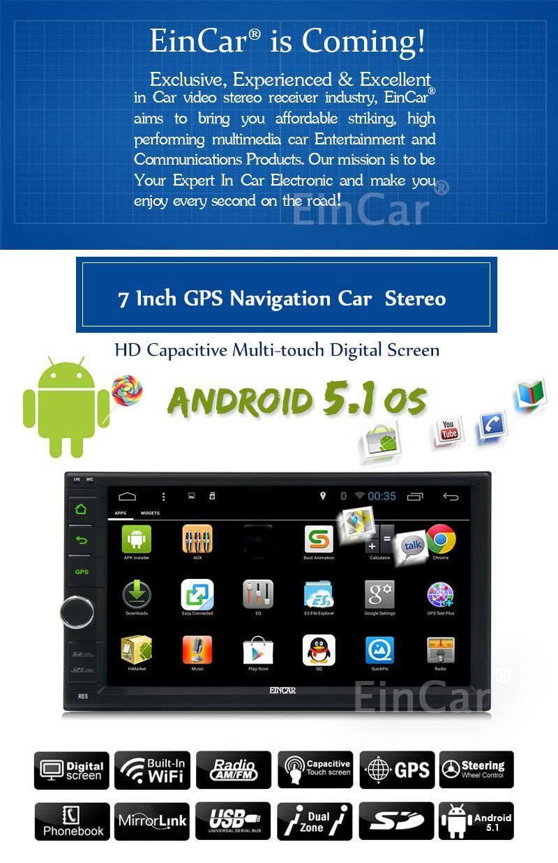 Newest 7 inch Lollipop Android 5.1 Car Stereo Double 2Din Radio in Dash Muti-Touchscreen 1080P Video Player Quad-Core GPS Navigation Support WiFi Bluetooth RDS USB//SD//3G//OBD2//Subwoofer//Mirrorlink EinCar Direct BR.AN44266GNN2-w