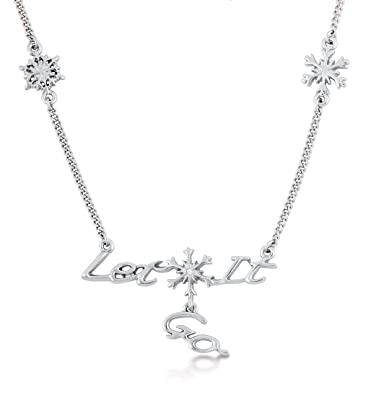 Disney Couture Frozen White Gold Plated Snowflake Necklace oSJ07YX