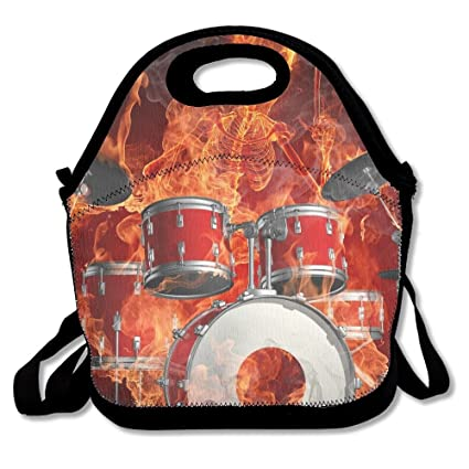 acdc697038d5 Amazon.com - Ghf-LUNCHBAG Drums Skeleton Fire Lunch Bag Insulated ...