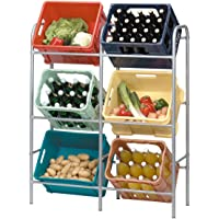 axentia Kastenregal in Grau, Getränkekistenständer für Küche, Keller oder Garage, Flaschenkastenregal für 6 Kästen, platzsparende Kastenhalterung, sicher, standfest