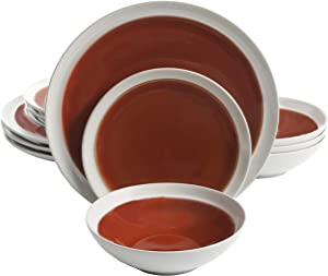 Gibson Elite Clementine 12 Piece Dinnerware Set, Red