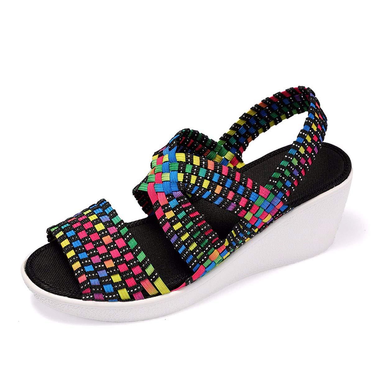 KPHY Damenschuhe Studenten Haben Höhere Sandalen Dicken Hintern Schrägen Damenschuhe Muffin-Schuhe Fisch Münder und High Heels.36 Farbe