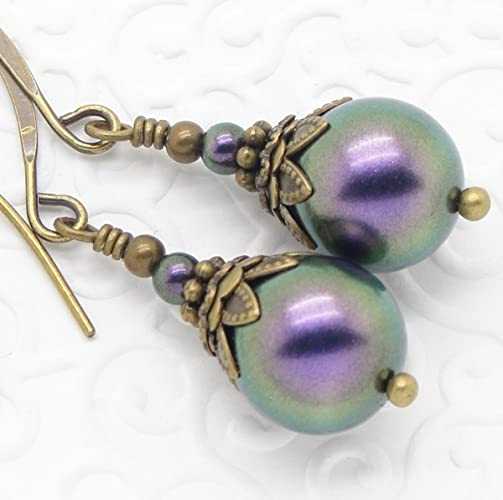 Vintage Style Jewelry, Retro Jewelry Purple Victorian Earrings with Simulated Pearl  AT vintagedancer.com
