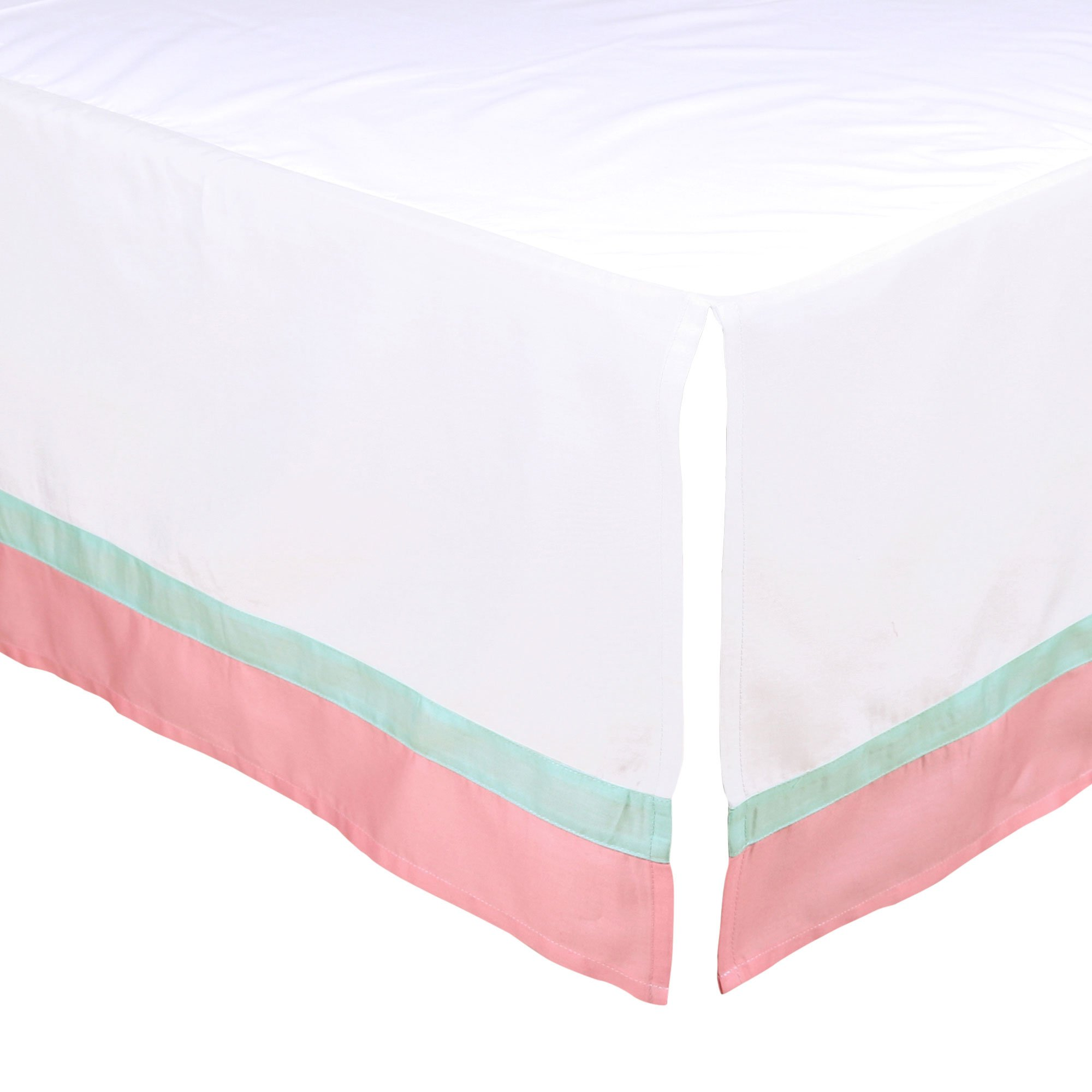 White Tailored Crib Skirt with Coral Pink and Mint Green Trim by The Peanut Shell by The Peanut Shell
