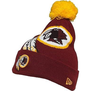 9bf03ae9c75 Washington Redskins New Era NFL Team Cuff Knit Bobble Beanie Hat Kids Maroon