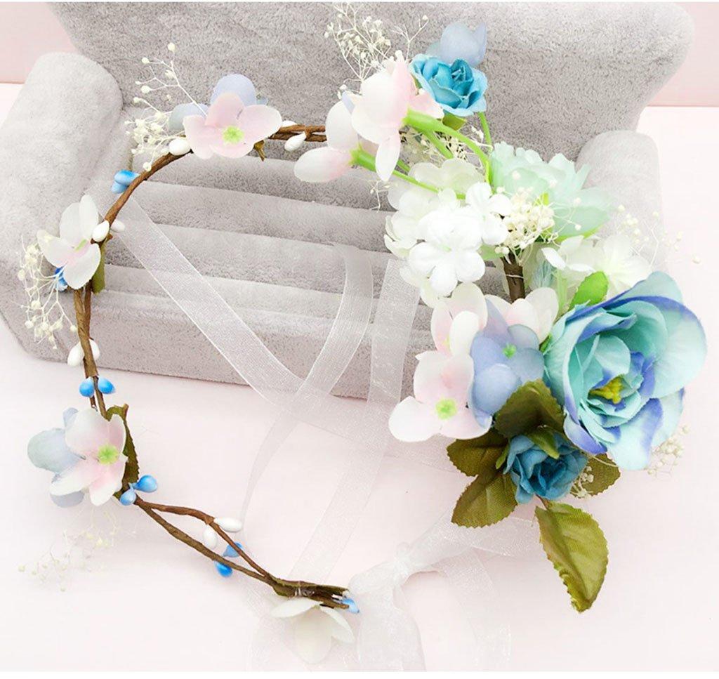Wreath Flower, Headband Flower Garland Handmade Wedding Bride Party Ribbon Headband Wristband Hairband (Color : A)