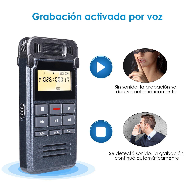 Grabadora de Voz Digital Portátil, COOAU 16GB Mini Dictáfono Digital ...