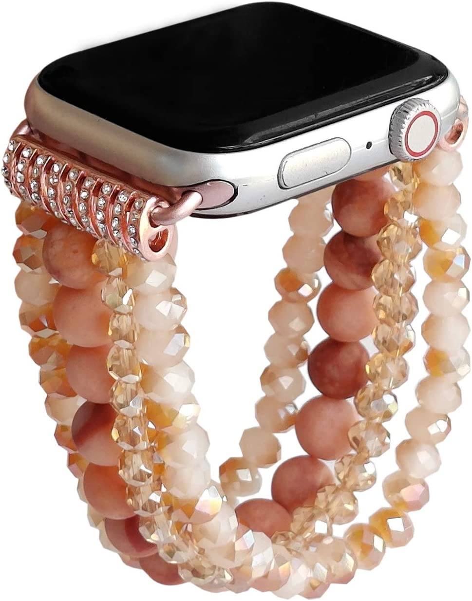 ZOOZOOT Natural Gemstone Crystal Bracelet Compatible with Apple Watch Bands Women Girl, Cute Handmade Fashion Elastic Beaded Strap Compatible for Apple iWatch Series 5/4/3/2/1