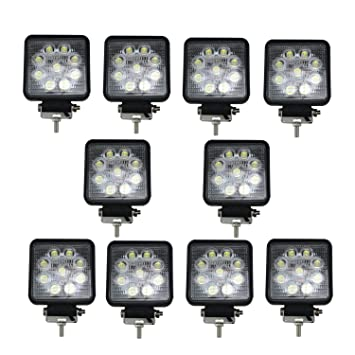 Amazon skyweel 10pcs 27 led work light square spot flood light skyweel 10pcs 27 led work light square spot flood light for off road cars boat aloadofball Image collections
