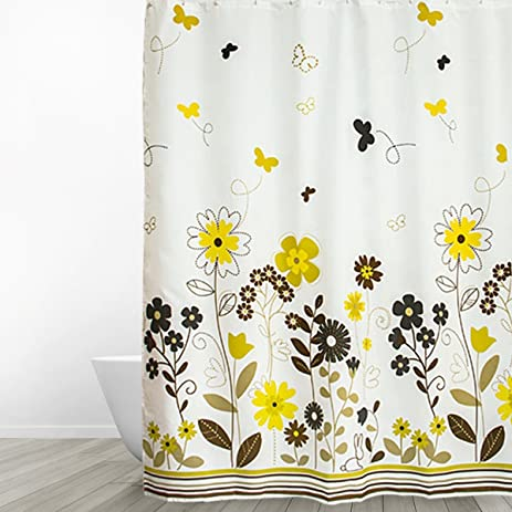 Eforgift X Long Durable Polyester Fabric Shower Curtain Water Resistant Garden Theme Bathroom Spring