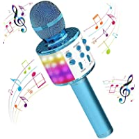 H HOME-MART Wireless 4 in 1 Bluetooth Karaoke Microphone with LED Lights, Portable Microphone for Kids, Best Gifts Toys…