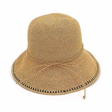 50e09c0e9be Aabigale beautiful 2018 Summer Fashion Women Wide Brim Floppy Hand Made  Raffia Straw Hats Foldable Anti