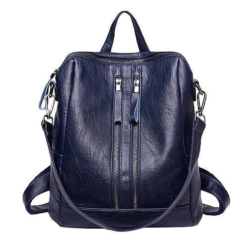 Xinwcang Mochila de Cuero de Hombro Bolsa de Mano de Moda para Mujer PU Impermeable Mochilas Tipo Bolso de Viaje Azul: Amazon.es: Zapatos y complementos