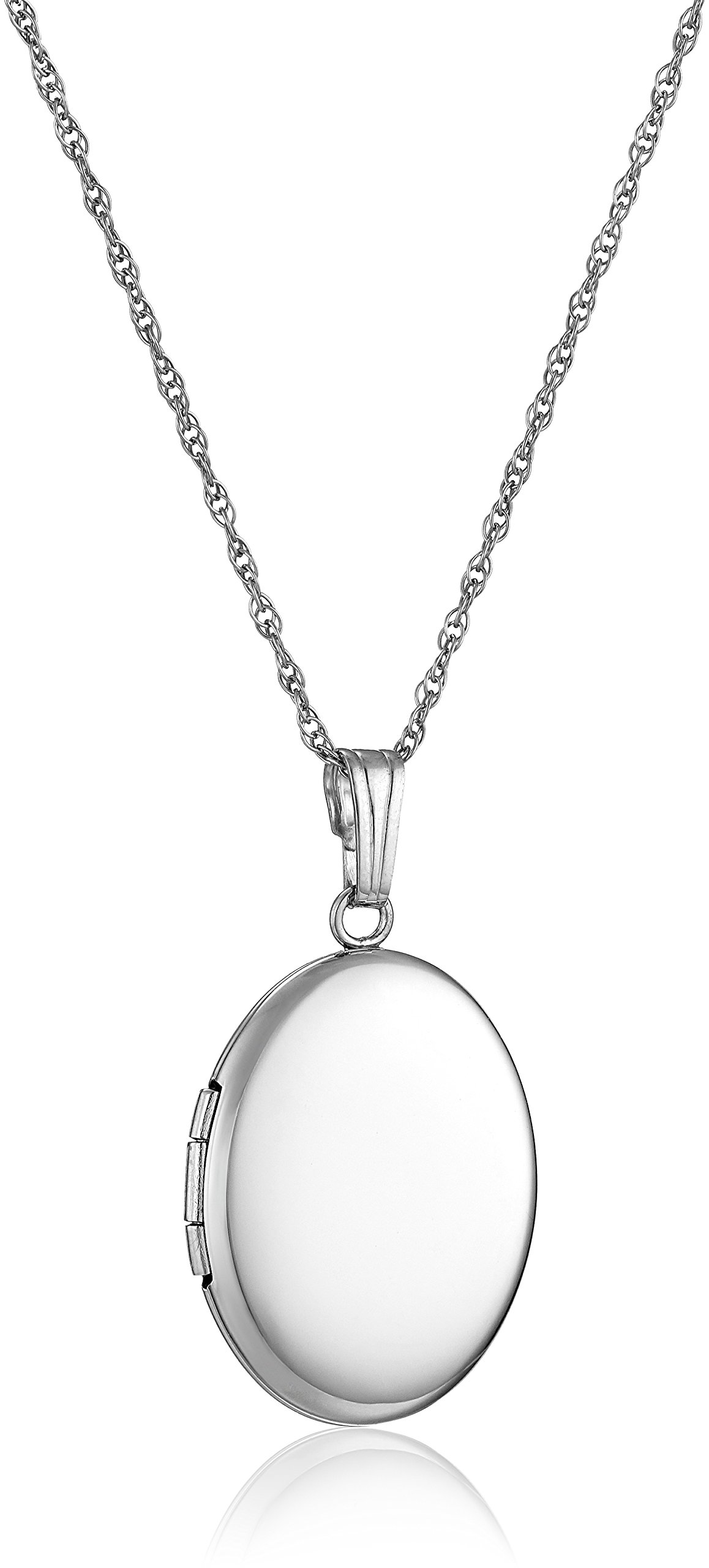 14k White Gold Polished Oval Locket Necklace, 18''
