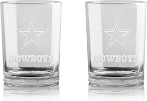 NFL Whiskey Rocks Glass   Frosted Team Logo   Lead-Free   Premium Glassware   Set of 2