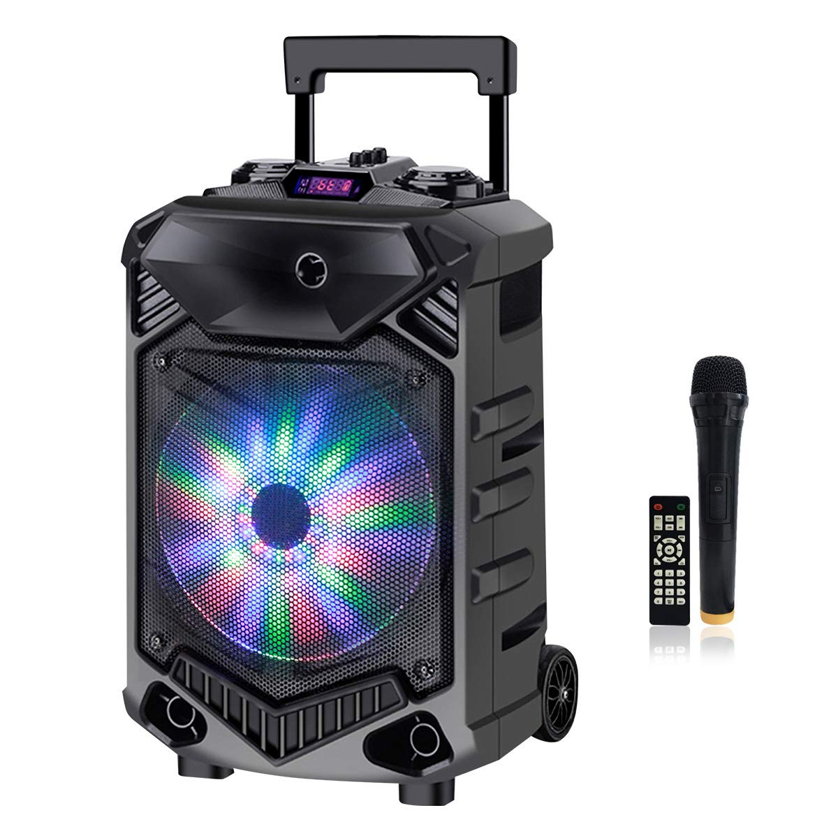 Shinco 12-inch Powered Speaker Karaoke Machine DJ Party Outdoor Audio Built-in Battery Bluetooth PA System with LED light, Wireless UHF Microphone