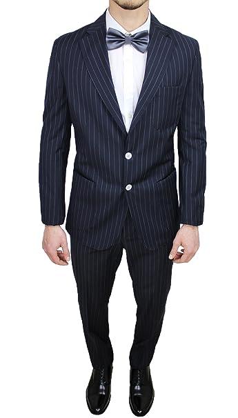 03da1fa46f16c Abito uomo sartoriale italiano Vincent Trade blu gessato vestito completo  elegante cerimonia (48)