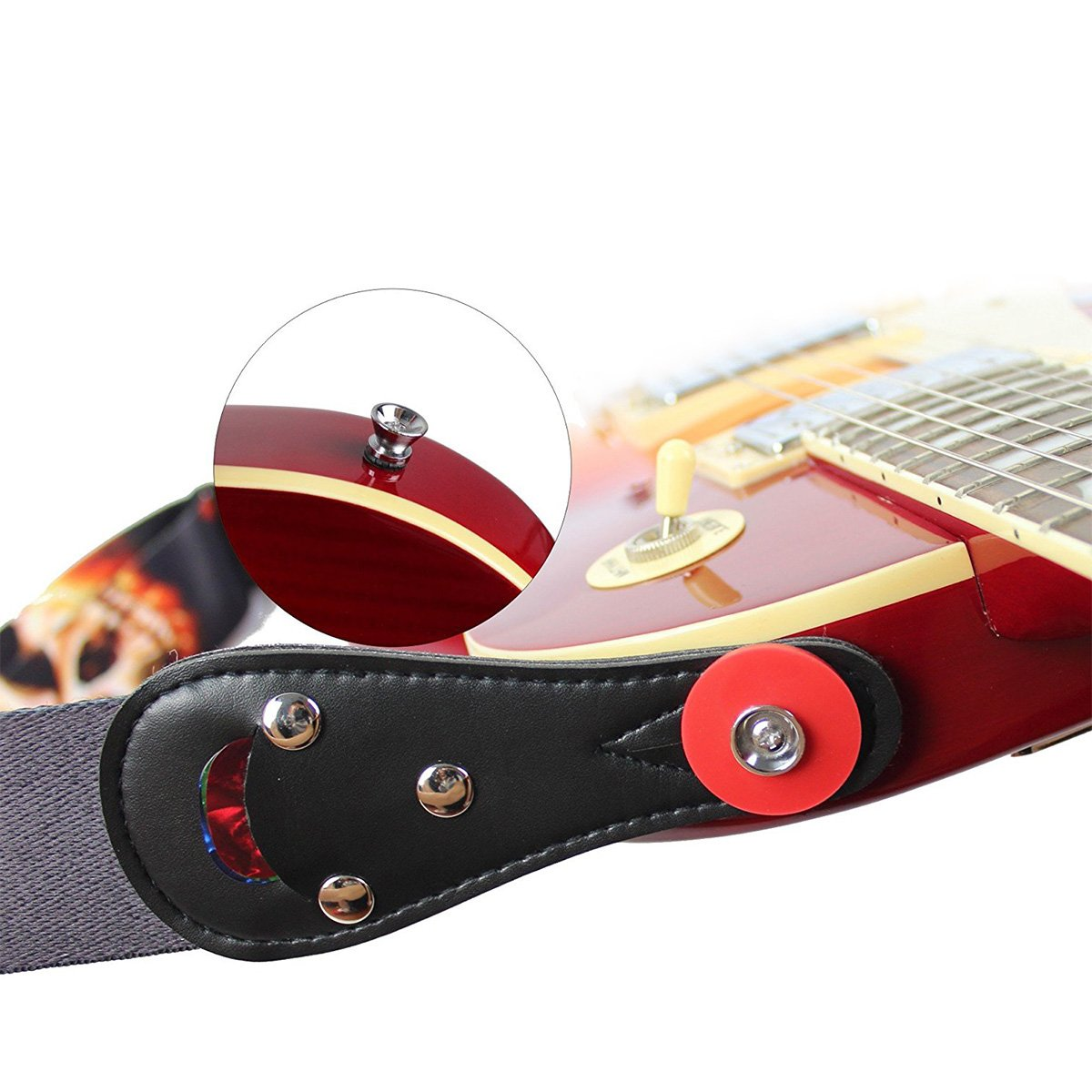 Guitar Strap Locks Silicone Anti skid Electric Guitar Savers Protector Strap Blocks Musical Instrument Accessories (4pcs, Black/Red) Suces Suces-0516