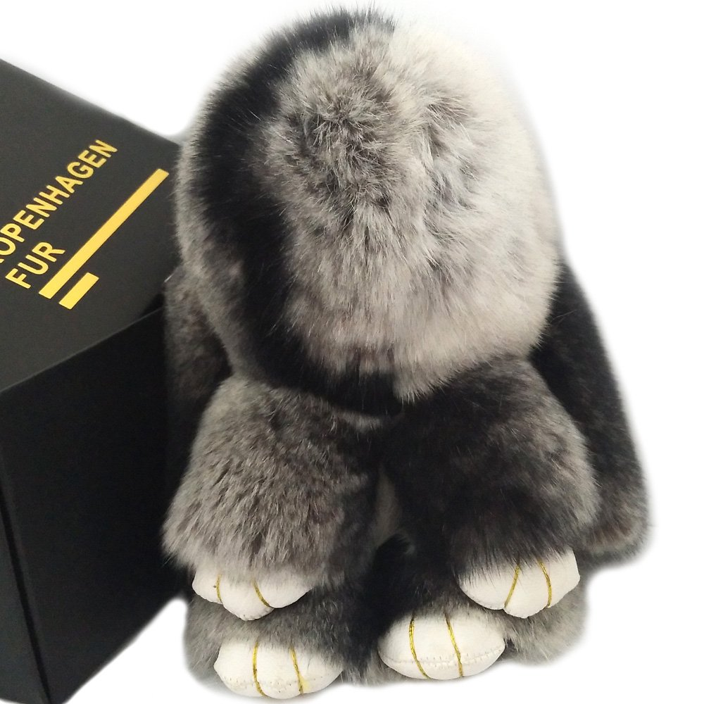 Valpeak Real Rabbit Keychain Fluffy Bunny Keychain Fur Bag Charms Cute Plush with Gift Box (Gray with black)