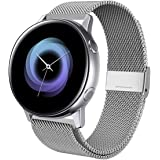 Kartice Compatible with Samsung Galaxy Watch Active (40mm) Bands Active2 (44mm) Band, 20mm Stainless Steel Strap for Galaxy Watch Active 2 (Silver)