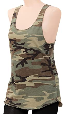 23bfb08791b59 Image Unavailable. Image not available for. Color  Women S Woodland  Camouflage Racerback Tank Top - Camo Cotton ...
