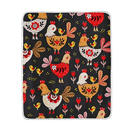 Cute Cock Chicken Pattern Throw Blanket for Bed Couch Chair Sofa Velvet  50x60 inch Adult Kids e01592f563
