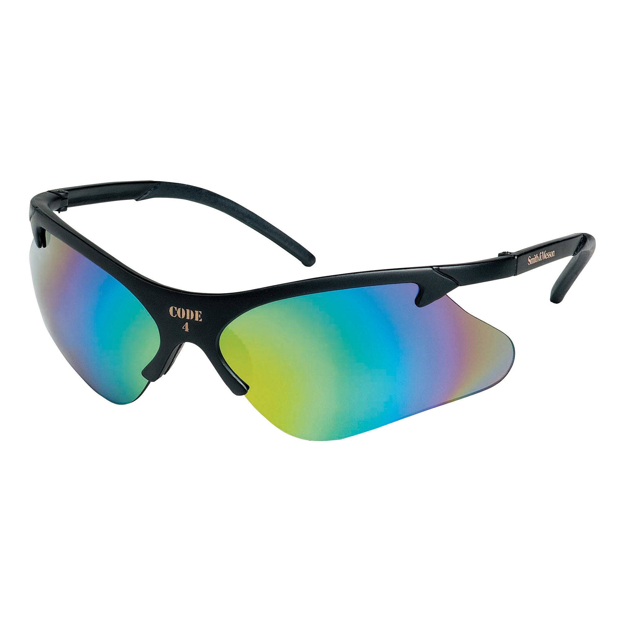Smith & Wesson Code 4 Safety Glasses (19834), Black Frame, Mirror Lens (Safety Sunglasses), 12 Pairs / Case