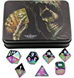 Rainbow Chromatic Solid Metal Polyhedral Dice - for Dungeons and Dragons, Pathfinder and other RPGs